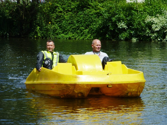 A pedalo race after lunch - Ray & Hanz win...
