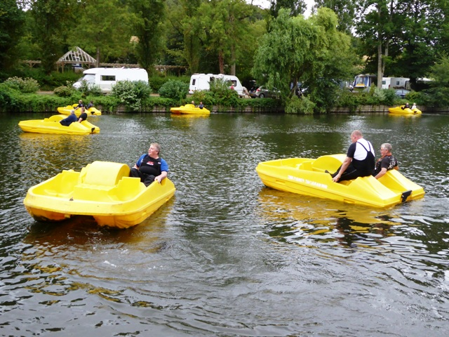 We all take to the water in pedalos